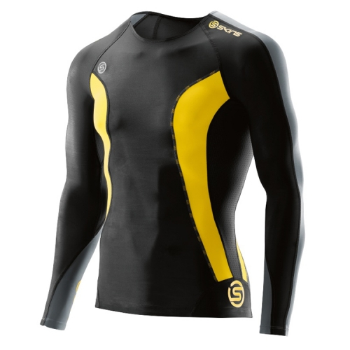 [SKINS]K6121DSS31 BKCI DNAMIC MEN BLACK/CITRON TOP LONG SLEEVE 긴팔상의