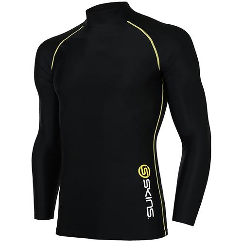 [SKINS]SL172MRAIS107 BLK0 기본 로고 하프넥 긴팔 언더셔츠(블랙)