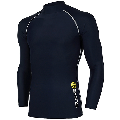 [SKINS]SL172MRAIS108 NAV0 기본 로고 하프넥 긴팔 언더셔츠(네이비)