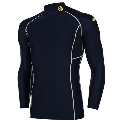 [SKINS]SL172MRAIS112 NAV0 매쉬 배색 하프넥 긴팔 언더셔츠(네이비)