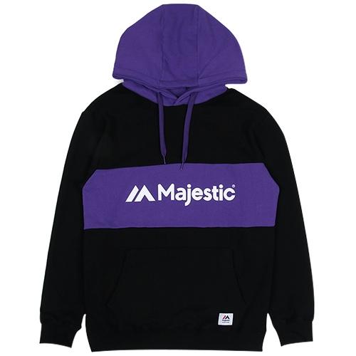 [MAJESTIC]ML171MCAMT008 로고플레잉 후드(블랙/퍼플)