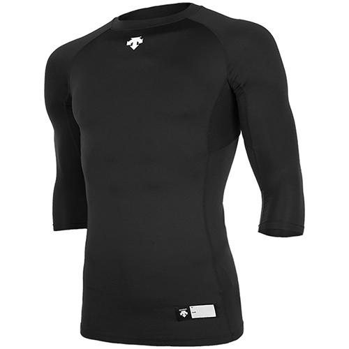 [DESCENTE]S7221ZPC03 BLK 절개 라운드 7부 언더셔츠(블랙)