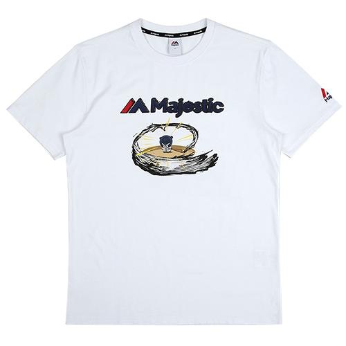 [MAJESTIC]ML172UBATS112 야구친구 콜라보 곰돌이 그래픽 반팔 티셔츠(화이트)