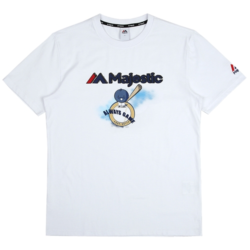 [MAJESTIC]ML172UBATS116 야구친구 콜라보 공용이 그래픽 반팔 티셔츠(화이트)
