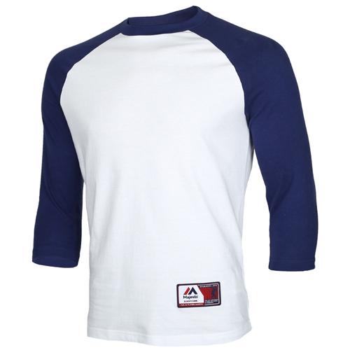 [MAJESTIC]7부 라글란 배색 티셔츠(흰색)