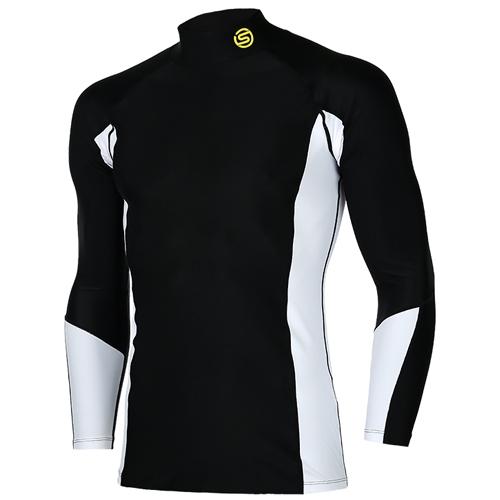 [SKINS] SL172MRAIS109 BLK0 절개 배색 하프넥 긴팔 언더셔츠(블랙)