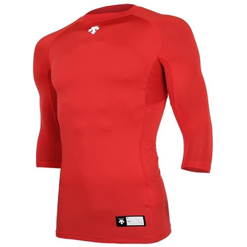 [DESCENTE]S7221ZPC03 RED 절개 라운드 7부 언더셔츠(레드)