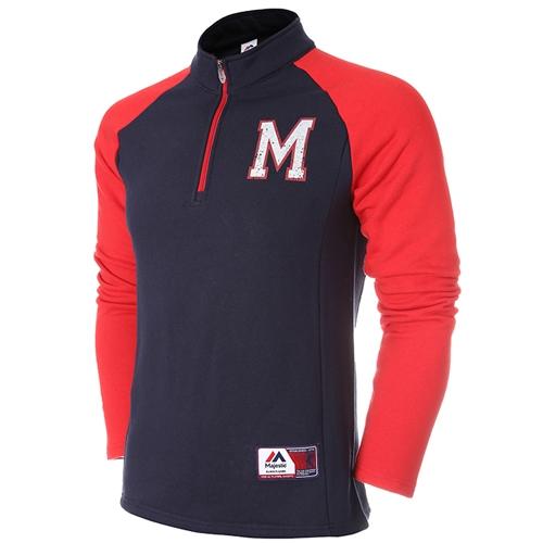 [MAJESTIC]ML154MBAZT516(남색)엠블럼 짚업 티셔츠