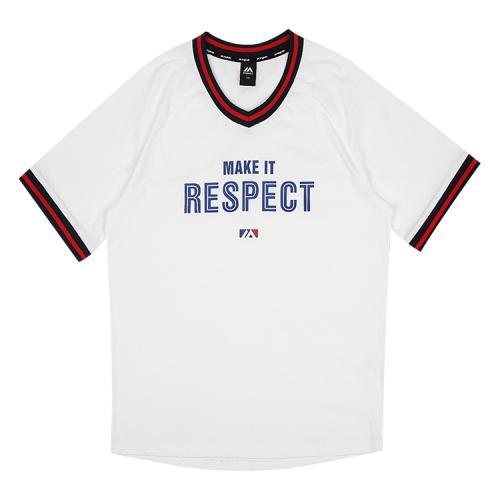 [MAJESTIC]ML182UCATS014 유니 요꼬 오버핏 티셔츠 (화이트)