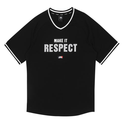 [MAJESTIC]ML182UCATS015 유니 요꼬 오버핏 티셔츠 (블랙)