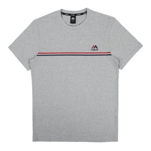 [MAJESTIC]ML182UCATS011 유니 라인 그래픽 티셔츠 (멜란지그레이)